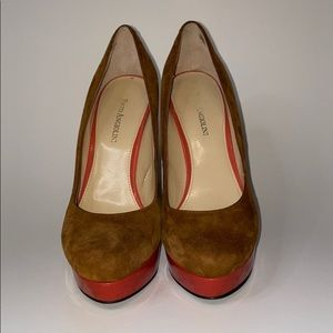 Enzo Angiolini Smile pump, brown and red, …